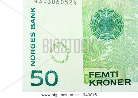Corner Of Fifty Norwegian Kroner Banknote