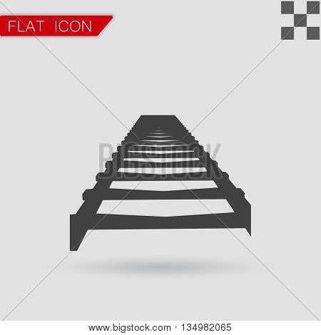 Vector Rail Road icon Flat Style with red mark