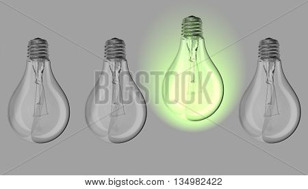 Green lightbulb between many lightbulbs switched off