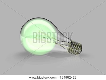 Switched on green lightbulb between many lightbulbs