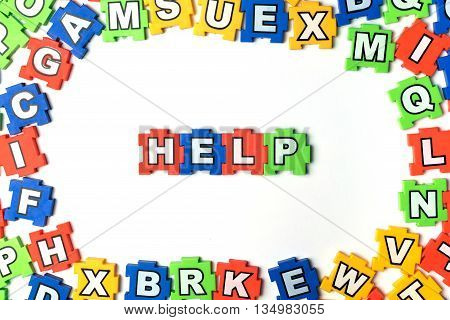 Puzzle HELP on white background. jigsaw, puzzle,