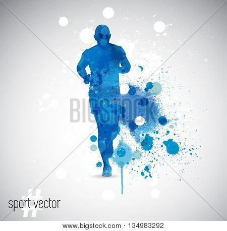 Vector illustration: running man. Spray watercolor paint