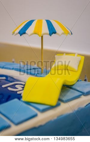 Pool Party Themed Cake With Fondant Cake Decoration