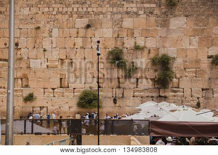 Jerusalem Israel - May 9 2016: 360 degrees video camera system in filmed production at the Western Wall in the old city of Jerusalem Israel.