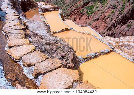 View Of Salt Ponds, Maras, Cuzco, Peru