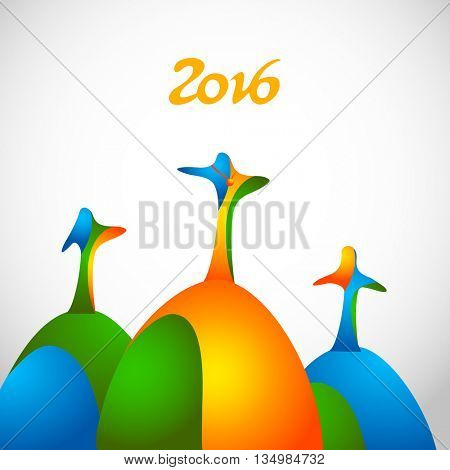 Winners on sports podium for the first, second and third place isolated on white. Stylized color people raise hands up. Yellow, green, blue colors. Vector illustration