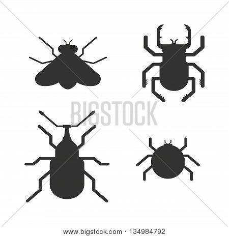 Insect icons black silhouette flat set isolated on white background. Ladybird, butterfl beetle vector ant.