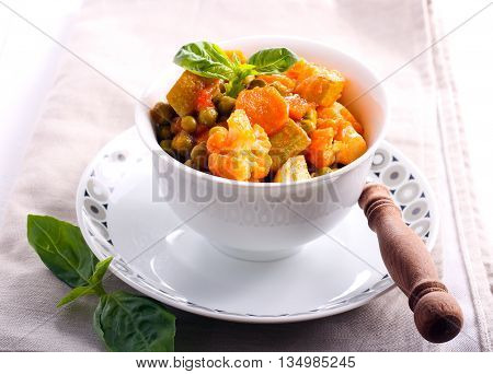Vegetable ragout in tomato sauce in a bowl