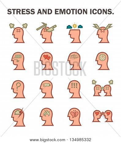 Stress and emotion icons sets isolated on white background.