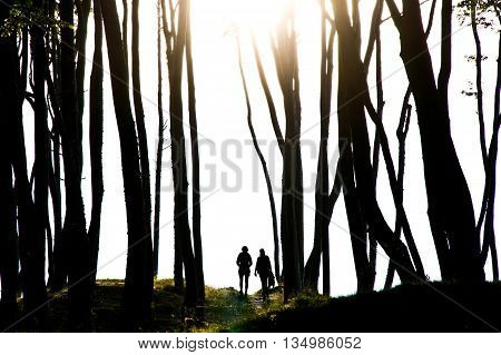 People in the dark mysterious forest. People and nature concept.