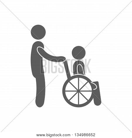 Disabled Person vector icon. Man on wheelchair. Handicapped person sign