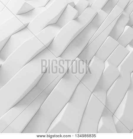 White abstract wavy strips backdrop. 3d rendering geometric polygons, as tile wall. Interior room