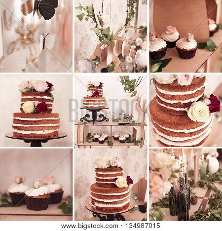Collage of nine images with wedding celebration: cake cupcakes decorations. Wedding day.