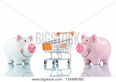 Piggy Bank And A Shopping Trolley Isolated On White