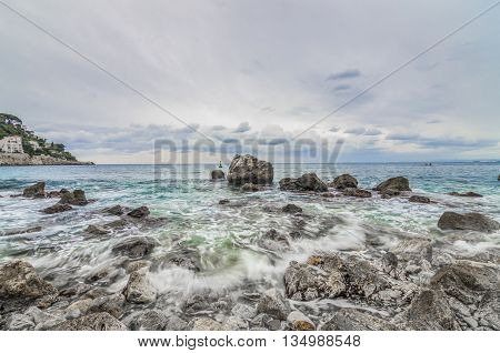 France, Nice, Cote d'Azur - Waves on the coast