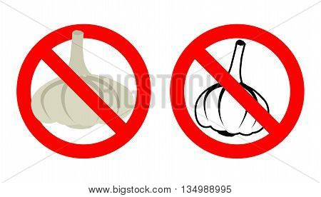 Stop Garlic. Prohibited Bad Breath. Crossed-out Silhouette Of Vegetable. Emblem Against Stench. Red