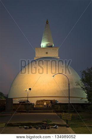 Dagoba Miriswatta in the twilight. Anuradhapura, Sri Lanka