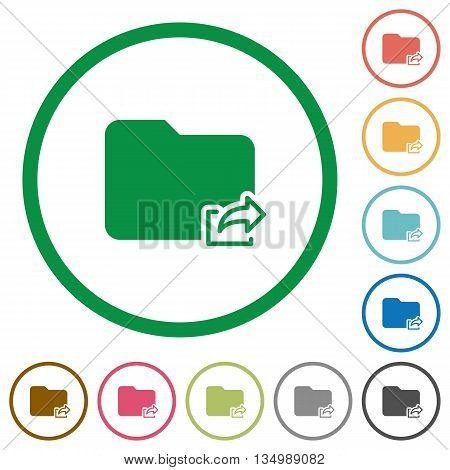 Set of folder export color round outlined flat icons on white background