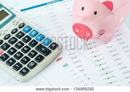 Piggybank And Calculator, Stock Market