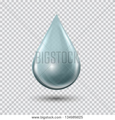 Transparent blue water drop on light gray background. Water bubble with glares and highlights. Metal chrome droplet. Abstract vector illustration EPS 10 for your design and business