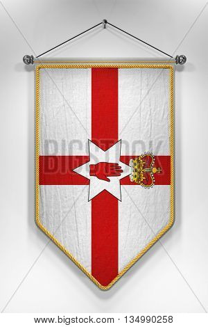 Pennant with Northern Ireland flag. 3D illustration with highly detailed texture.