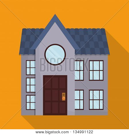 Family House with door, windows and roof over colorfull background
