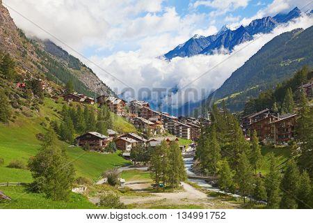 Famous swiss city Zermatt in the valley near the swiss-italian border center of alpine sports