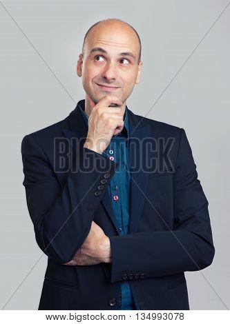 Handsome Bald Man Thinking