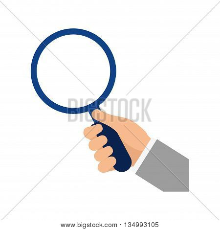Search and looking concept represented by lupe and hand icon over flat and isolated background