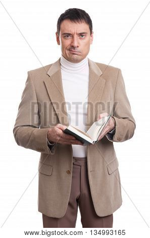 Serious Man Holding A Book. Isolated