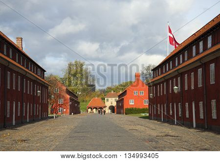 COPENHAGEN, DENMARK - NOVEMBER 03, 2014: Autumn day in the fortress Castellet. Historical landmark of the city Copenhagen, Denmark