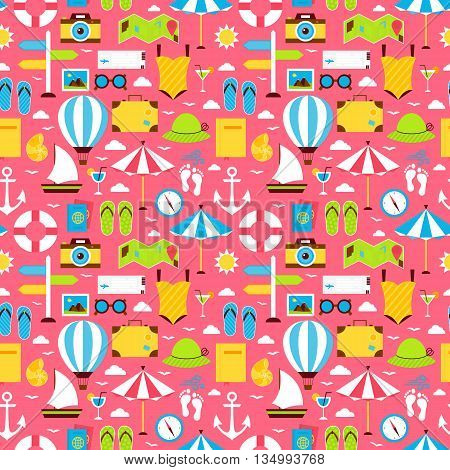 Pink Flat Travel Resort Vacation Seamless Pattern