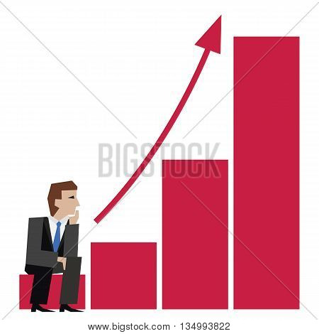 Vector illustration of businessman sitting on an arrow chart. Business concept.