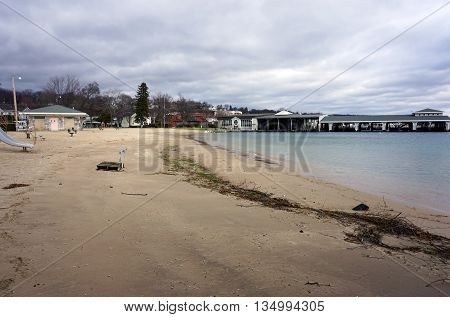 The Zorn Park Beach in Harbor Springs, Michigan on Christmas Eve.