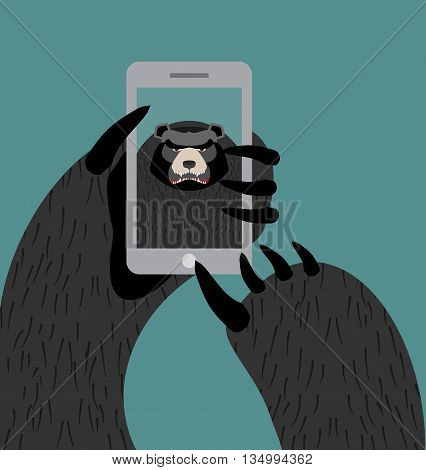 Bear Selfie. Grizzly Photographed Themselves On Phone. Angry Wild Animal And Smartphone