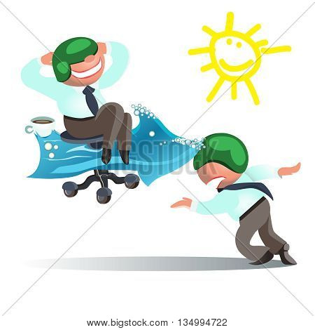 Businessman Run to Goal, Time and Way to Success Concept.vector