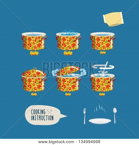 Instruction Cooking. Set Pots Infographics. Home Cooking Recipe. Step By Step Instructions, Ingredie