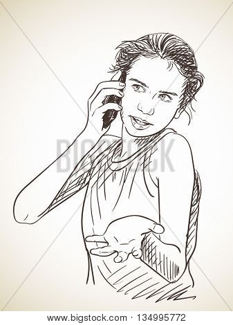 Sketch of teenager girl emotionally talking mobile phone, Hand drawn vector illustration