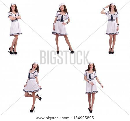 Collage of woman sailor isolated on white