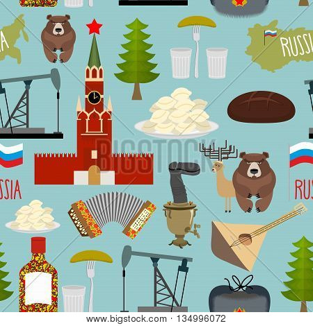 Russia Sightseeing Seamless Pattern. Moscow Kremlin And Samovar, Oil Pump And Squeeze. Ushanka And B