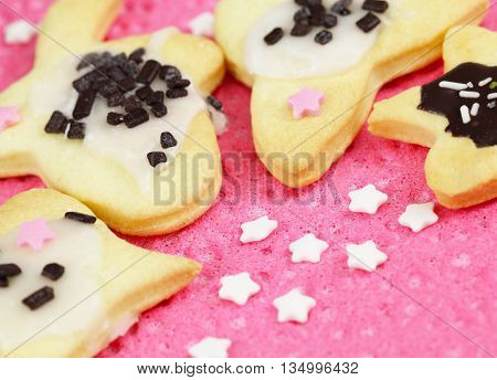 homemade cookies with chocolate sprinkles and sugar sternen