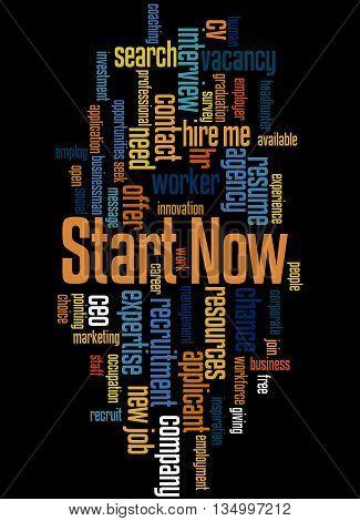 Start Now, Word Cloud Concept