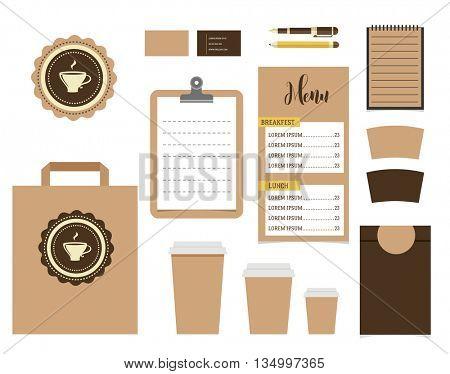 Cafe Stationery, Coffee shop Branding Mock-up, vector menu