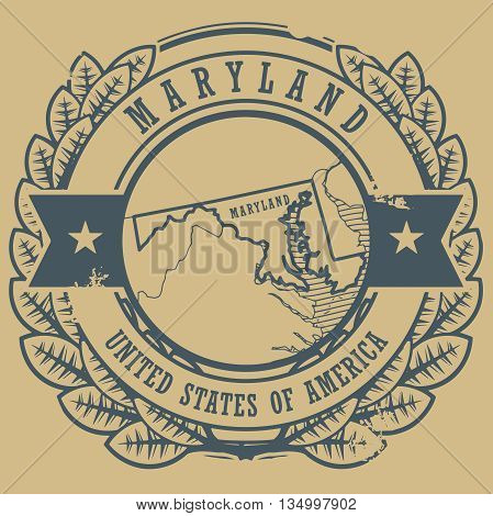 Grunge rubber stamp with name and map of Maryland, USA, vector illustration