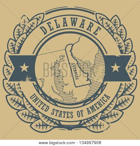 Grunge rubber stamp with name and map of Delaware, USA, vector illustration