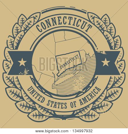 Grunge rubber stamp with name and map of Connecticut, USA, vector illustration