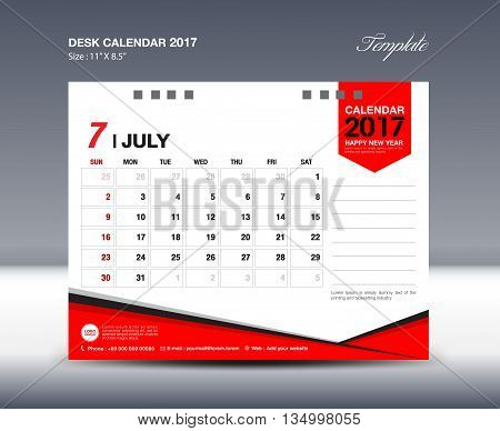 July Desk Calendar 2017 Design Template polygon vector illustration