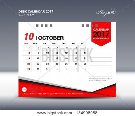 October Desk Calendar 2017 Design Template red polygon vector design