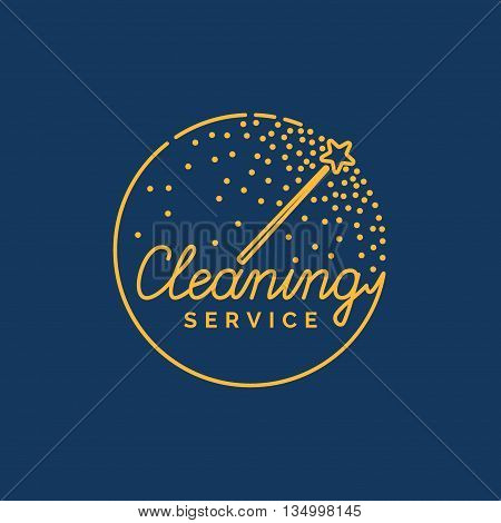 Cleaning service. The logo of the company on cleaning of rooms. Vector illustration.
