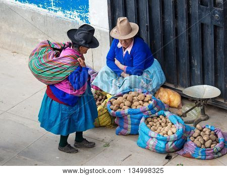Peruvian Woman On The Street. Huaraz, Peru